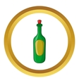 Green bottle of wine icon vector image vector image