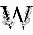 hand drawn floral uppercase w monogram and vector image
