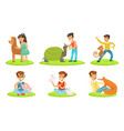 happy children and cute animals in petting zoo set vector image vector image