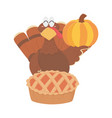 happy thanksgiving day turkey holding pumpkin and vector image