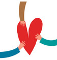 heart and human hands in doodle style design vector image