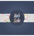 holi sale blue banner with white ribbon