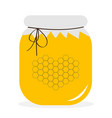 honey jar pot icon honeycomb set in shape of vector image vector image