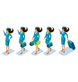 isometry flight attendant girl at work a vector image vector image