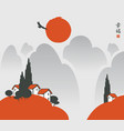 landscape with mountain village and hieroglyphs vector image