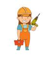little girl builder wearing hard hat holding vector image vector image