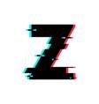 logo letter z glitch distortion vector image