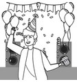 man cartoon with party hat design vector image vector image