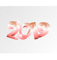 new year 3d numbers 2019 on transparent vector image vector image