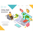 online banking landing web page template vector image