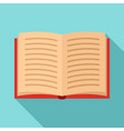 open book icon flat style vector image vector image