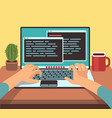 person programmer working on pc laptop vector image vector image