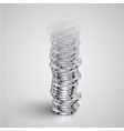 realistic coin tower fades away vector image