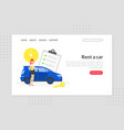 rent a car landing page template car sharing vector image