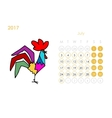 Rooster calendar 2017 for your design July month vector image vector image