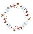Round frame with Christmas characters dancing vector image vector image