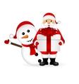 Santa Claus with snowman cartoon a gift vector image vector image