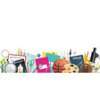 school supplies banner with education item border vector image vector image