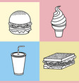 set fast food with soda and ice cream vector image