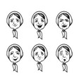 set grannies heads in cartoon style granny vector image
