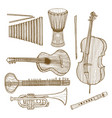 set of musical instruments in hand-drawn style vector image vector image
