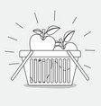 shopping basket with apples fruits monochrome vector image