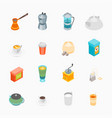 tea and coffee icons set 3d isometric view vector image vector image