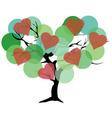 tree color green hearts vector image