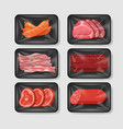 Various meat products in plastic tray container