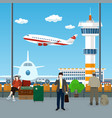 view on a take-off airplane and control tower vector image vector image