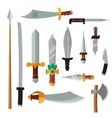 Weapon collection swords knifes axe spear with vector image vector image