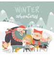 winter season background people characters winter vector image