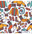 winter warm knitted clothes seamless pattern vector image
