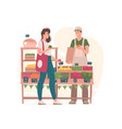 woman buying groceries from man on market vector image