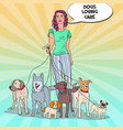 pop art pretty woman dog walker vector image