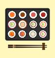 Set of sushi rolls flat design vector image