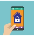 Smartphone in hand smart house or security at vector image