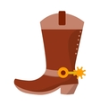 Wild west leather cowboy boot with spurs and stars vector image