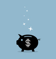 black piggy bank with dollar sign vector image