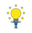 businessman character with glowing light bulb vector image