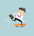 businessman on skateboard with briefcase vector image