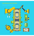 Car Production Line Poster vector image vector image