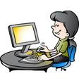 cartoon a secretary at work vector image