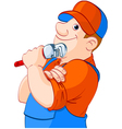 cartoon of a plumber holding a spanner vector image