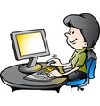 cartoon of a secretary at work vector image vector image