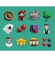 Casino Cartoon Icons Set vector image vector image