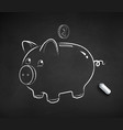 chalk drawn of cute piggy bank vector image