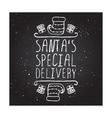 Christmas greeting card with text on chalkboard vector image vector image