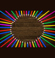 color pencil on wooden background vector image vector image