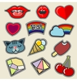 Colorful embroidery patches set vector image